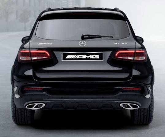 Задний диффузор с насадками AMG 6.3 Mercedes GLC под Night-пакет