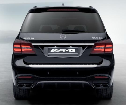 Задний диффузор с насадками AMG 6.3 Mercedes GLS под Night-пакет
