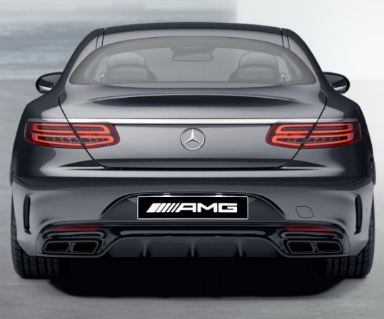 Задний диффузор с насадками AMG 6.3 Mercedes S класс под Night-пакет